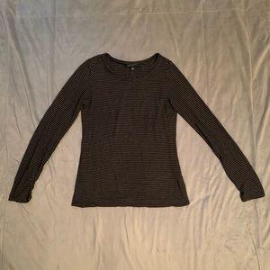 Banana Republic Grey Black Stripe T EUC Size M